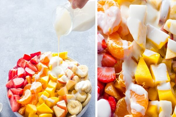 Chia các loại trái cây đã chuẩn bị ra làm 4 phần