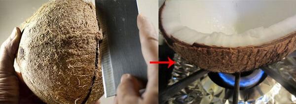Cách lấy cùi dừa ra khỏi vỏ bằng lò hoặc bếp ga