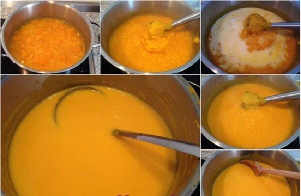 Sau khi xay, các bạn thêm kem tươi vào súp sẽ đủ độ đặc vừa phải