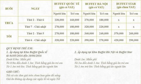 Bảng giá buffet nhà hàng Sen Hồ Tây Hà Nội