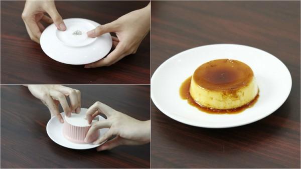 Úp bánh ra đĩa và thưởng thức kèm với cà phê, nước cốt dừa…