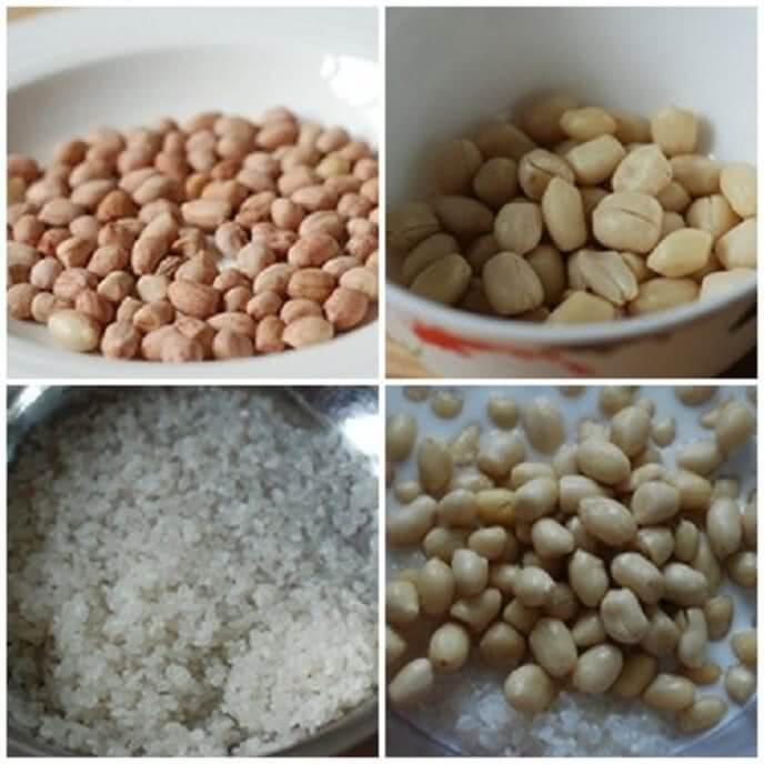 Cho đậu phộng vào nồi cùng 2.5 lít nước, đun sôi cho tới khi hạt chín mềm
