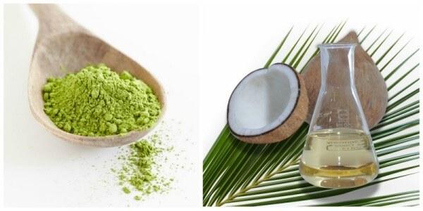Sử dụng bột trà xanh kết hợp với dầu dừa – cách dưỡng da bằng dầu dừa