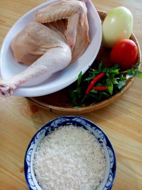 Nguyên liệu cho món cơm gà