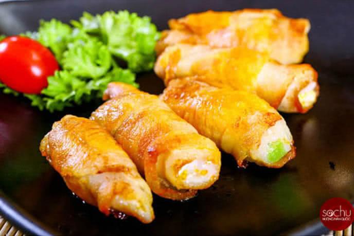 Ba chỉ cuộn phomai nướng vàng rụm