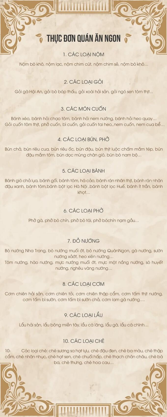 Thực đơn Nhà hàng Quán Ăn Ngon 18 Phan Bội Châu