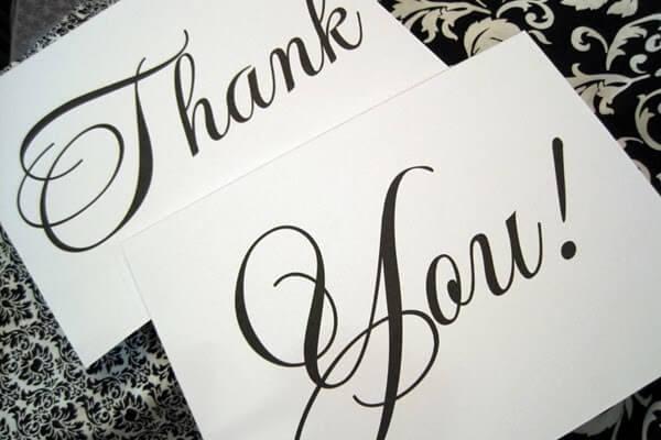 Các mẫu câu cảm ơn bằng tiếng anh sử dụng trong văn viết trang trọng