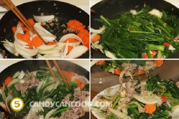Xào thịt bò trước rồi đổ ra một cái đĩa trước
