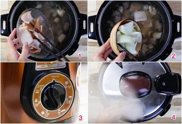 Mở nắp nồi áp suất ra, cho da heo và hành tây vào nấu cùng thịt trong 15 phút.