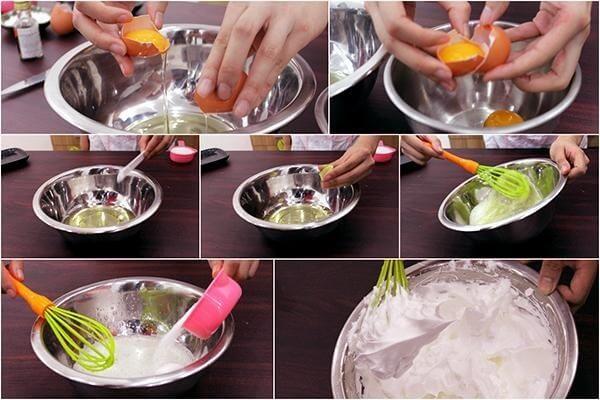 Cho trứng vào bát, dùng dụng cụ đánh trứng đánh đều trứng.