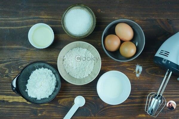 Nguyên liệu làm bánh bông lan cho 4 phần ăn