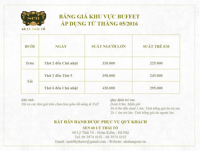 Thực đơn và bảng giá Sen Lý Thái Tổ