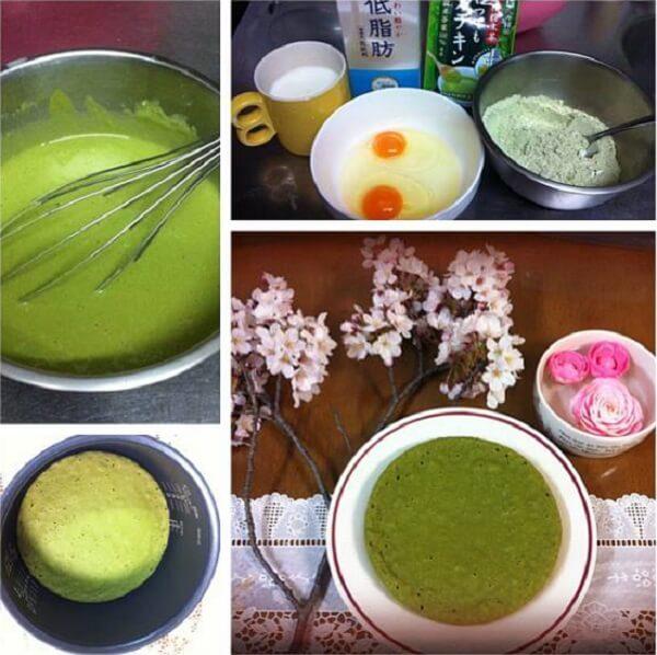 Cách làm bánh bông lan trà xanh bằng nồi cơm điện