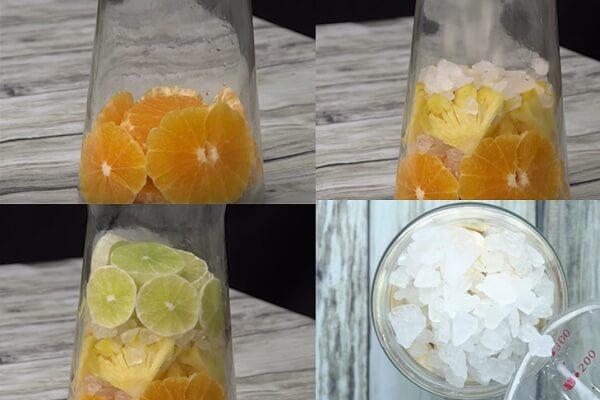 Xếp lần lượt 1 lớp trái cây xen kẽ với 1 lớp đường phèn.