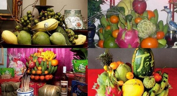 Hoa quả xanh, hoa quả giả (bằng nhựa) không được dùng cúng gia tiên.