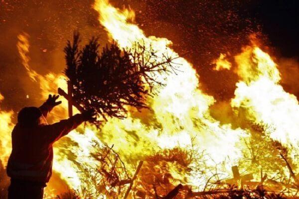 Người Hà Lan đốt cây thông Noel trên đường để xua đi những xui rủi của năm cũ và chào đón năm mới