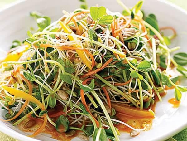 Món salad rau mầm thịt lợn hộp