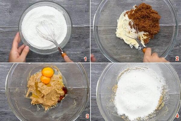 Rây bột vào hỗn hợp bơ trứng