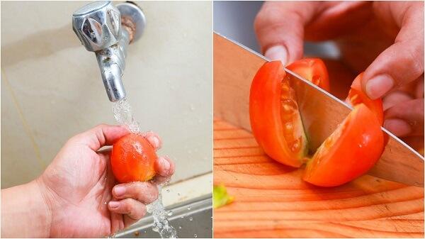 Cắt cà chua thật nhuyễn ra thành hình hạt lựu
