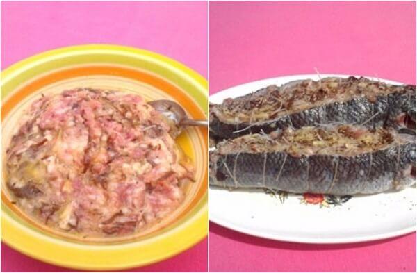 Lấy phần nhân vừa ướp cho vào phần bụng cá