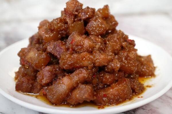 Mắm ruốc xào thịt ba rọi (23k)