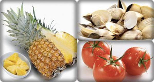 Nguyên liệu để nấu canh ngao chua - canh ngao nấu chua