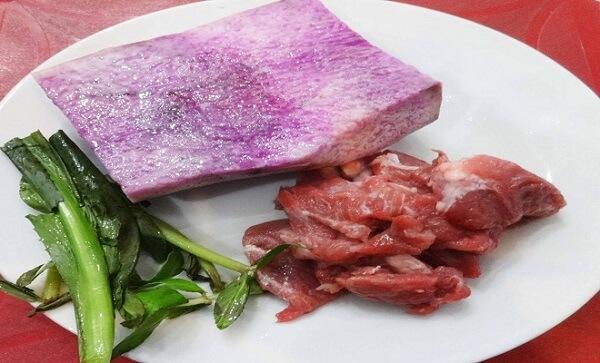 nguyên liệu canh khoai mỡ thịt bằm