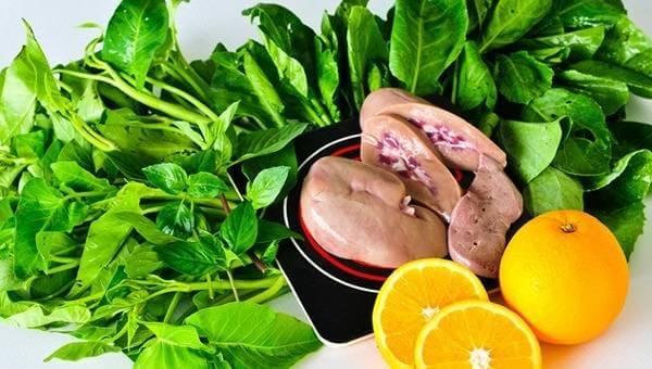 Rau xanh, gan và cam là những thực phẩm giàu axit folic