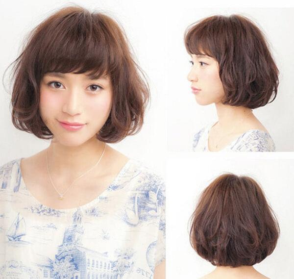 Tóc xoăn đuôi uốn cụp rất thích hợp cho nàng có gương mặt tròn