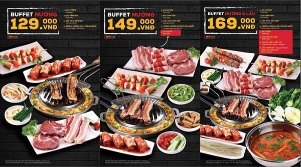 Buk Buk tại Thành phố Hồ Chí Minh có 2 menu là alacarte và buffet