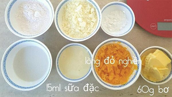 Các nguyên liệu làm bánh bao kim sa vàng