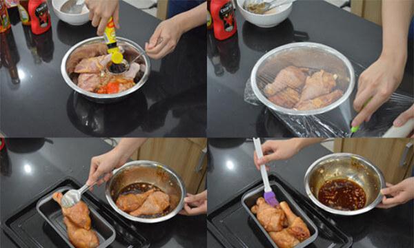 Nướng sơ đùi gà - cách làm cơm gà xối mỡ