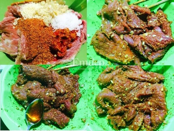 Ướp thịt bò với sa tế, sả, tỏi băm nhỏ, hạt nêm, đường và ớt bột.