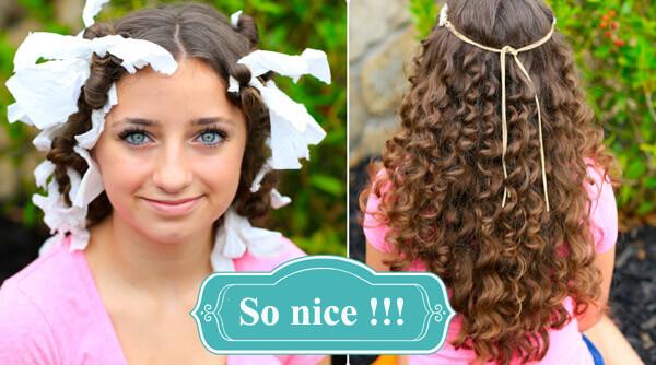 Dùng giấy để làm tóc xoăn một cách tự nhiên.