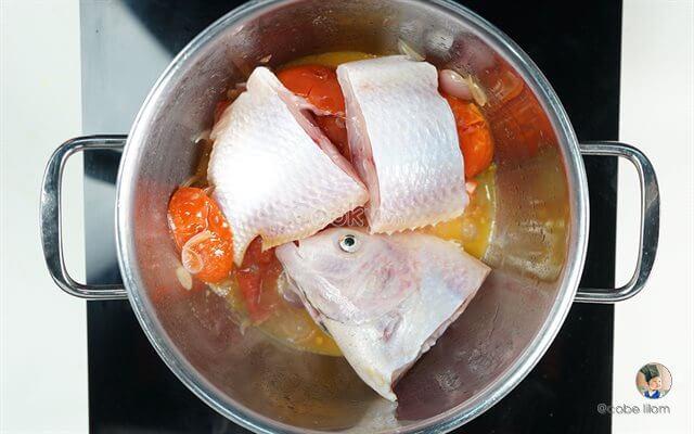 Cho cá diêu hồng vào