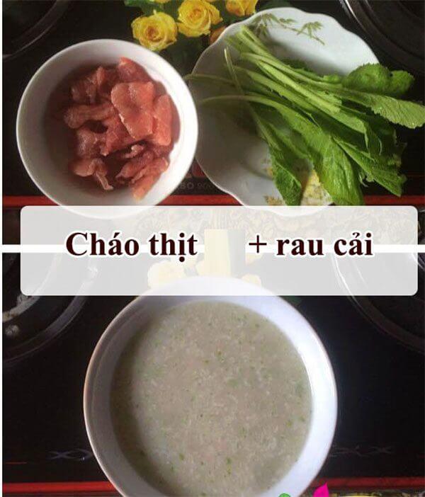 Cách nấu cháo thịt bằm rau cải xanh đổi vị cho bé - cách nấu cháo thịt bằm