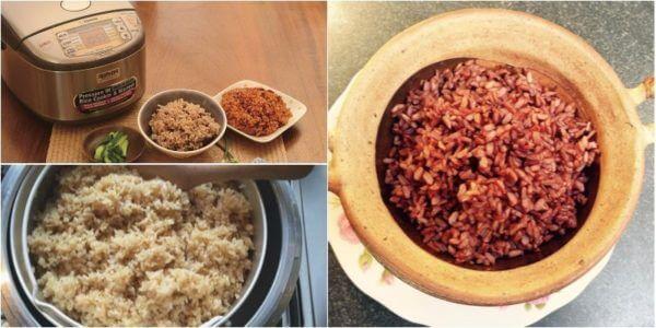 Nấu cơm gạo lứt bằng nồi cơm điện - nấu cơm gạo lứt