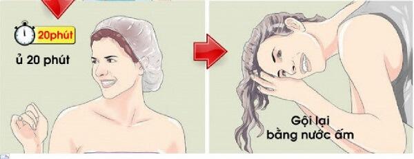 Ủ tóc và gội lại tóc bằng nước ấm
