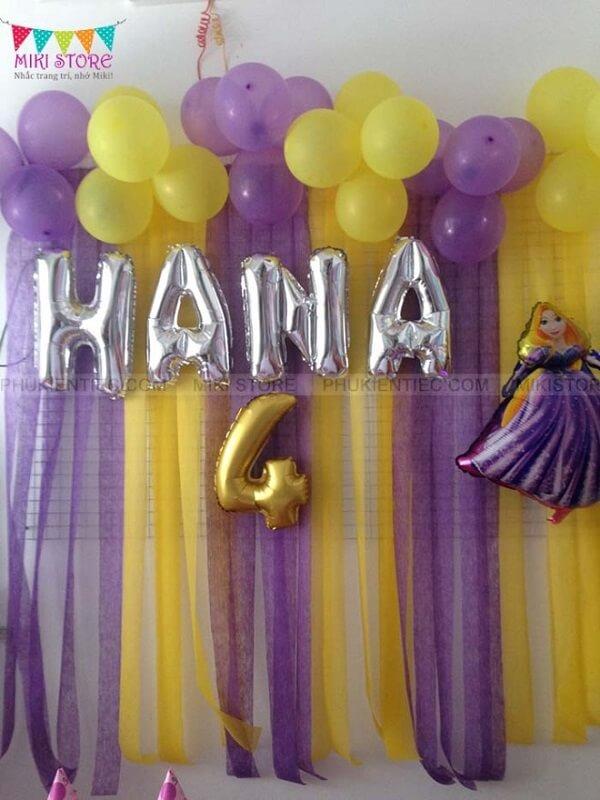 Trang trí sinh nhật bé gái chủ đề Rapunzel