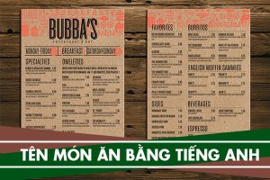 Tên các món ăn bằng tiếng Anh trong nhà hàng, món ăn Việt Nam