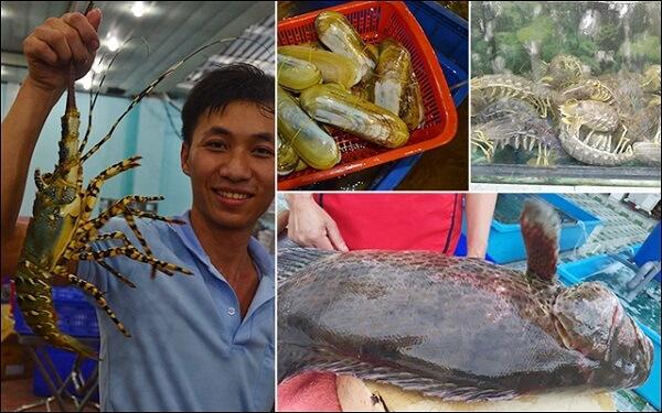 Khu ẩm thực Giang Ghẹ còn tiến hành chế biến các hải sản ngay tại chỗ.