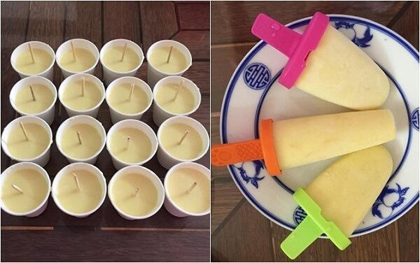 Bạn rót hỗn hợp kem vào khuôn làm kem và để vào ngăn đá để làm đông kem.