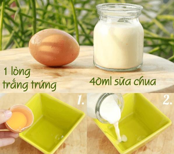 Mặt nạ lòng trắng trứng gà và sữa chua.