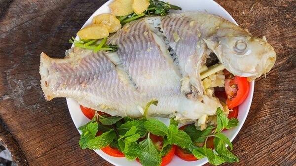 cá diêu hồng hấp cuốn bánh tráng 2