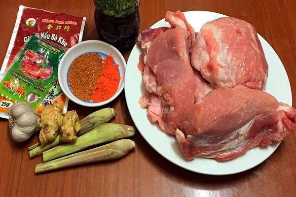 nguyên liệu cho món bò kho sả