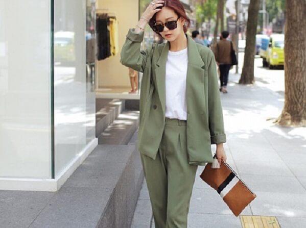 Màu xanh rêu kết hợp với màu nào thì đẹp, áo quần, váy xanh rêu