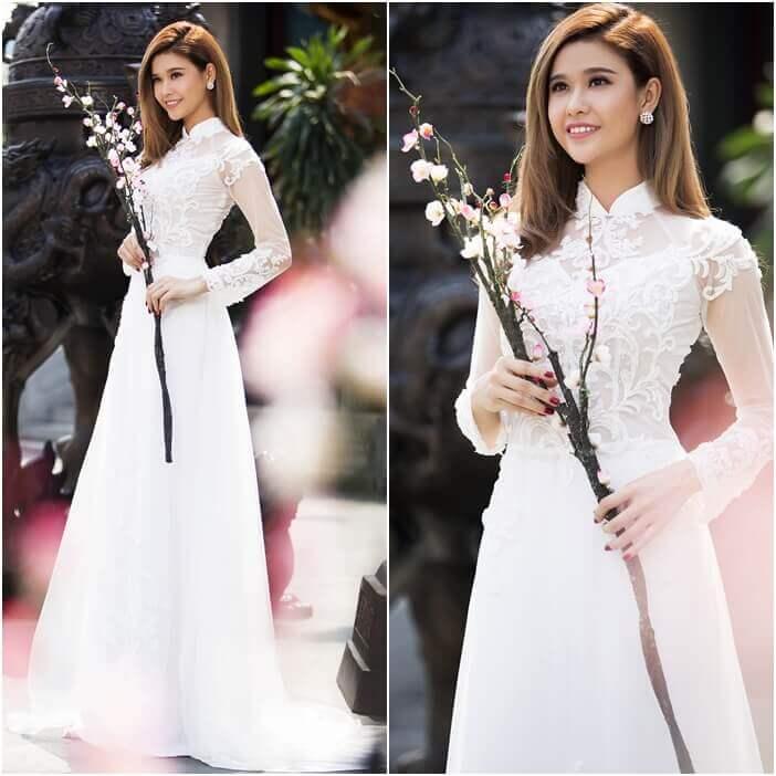 Các mẫu áo dài trắng cách tân, cách điệu cũng đẹp lung linh