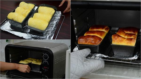 rạch 1 đường ở giữa chiếc bánh