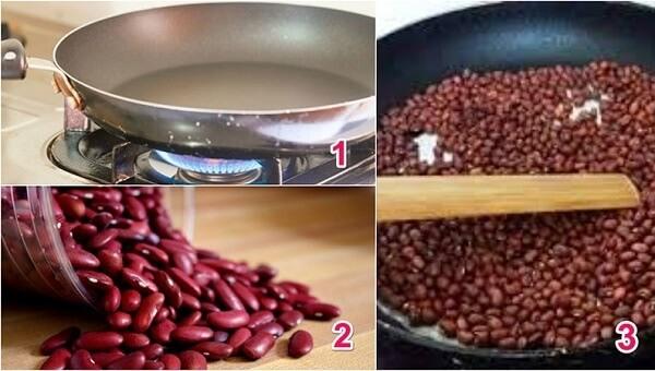 Rửa sạch rồi rang đậu đỏ trước khi đem xay