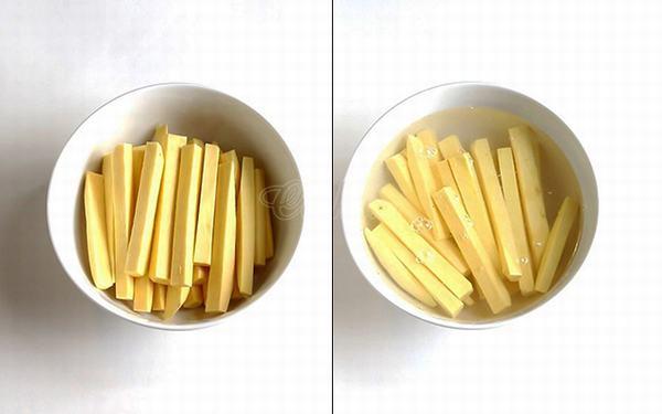 Khoai lang sau khi rửa sạch, gọt vỏ, cắt miếng vuông
